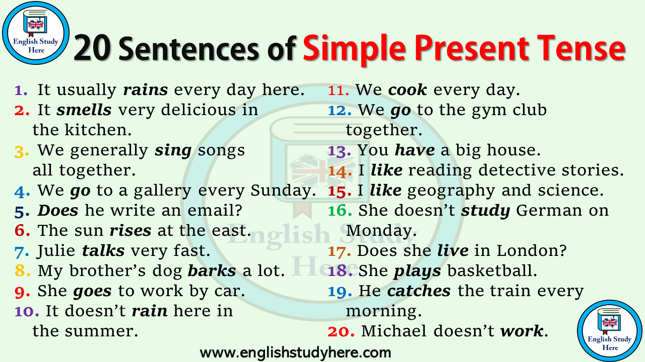 The use of simple present tense pdf