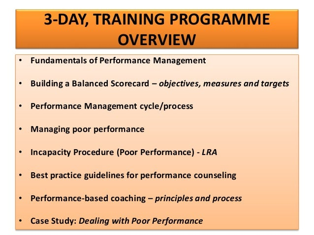 Managing poor performance guidelines and procedures
